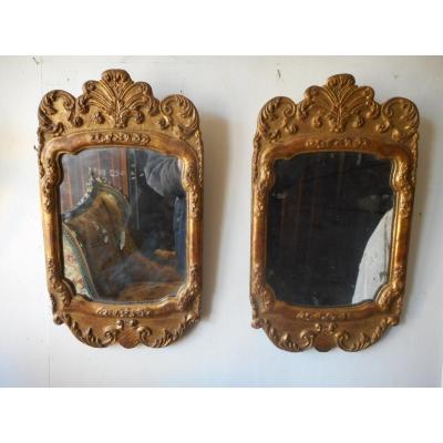 Paire De Miroir en Bois Doré époque XIXème