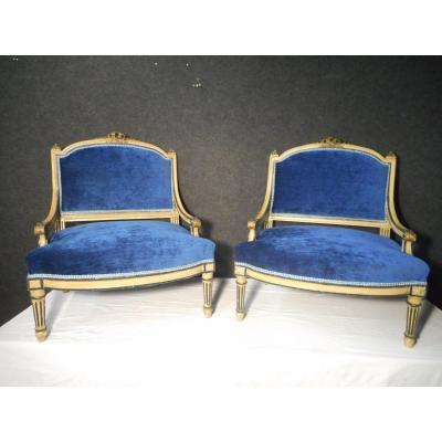 Paire De Fauteuil Laqué époque Napoléon III