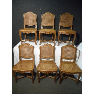 Series Of 6 Cane Chairs In Beech Eighteenth Time