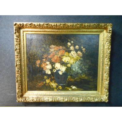 Grande Peinture bouquet de fleurs De Armand Jamar 1870-1946