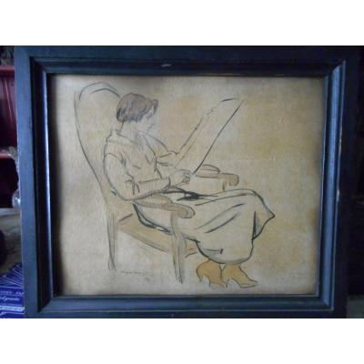 Dessin Femme Signe Andre Dignimont 1891-1965