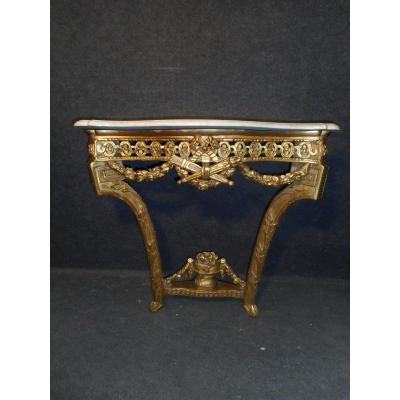 Small Console In Golden Wood Louis XVI Period