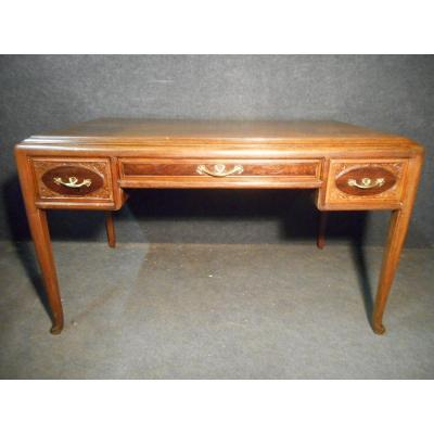 Art Nouveau Flamed Mahogany Desk Signed Majorelle Marine Flora Model