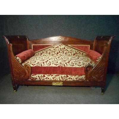 Child's Bed With Swan Neck Empire Period In Cuban Mahogany