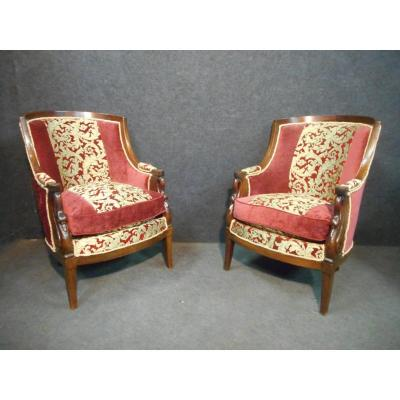 Pair Of Empire Period Bergère In Mahogany From Cuba