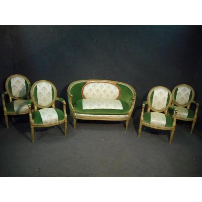 Mid 19th Century Living Room Set Stamped Maison Krieger Paris