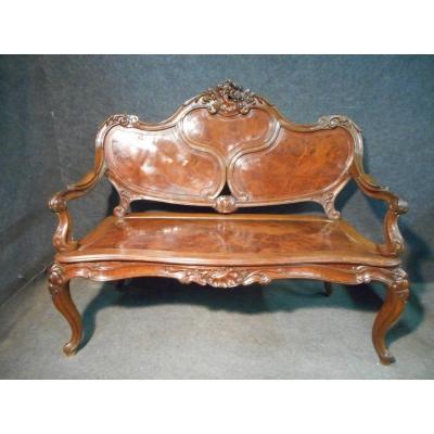 Bench In Burl Mahogany Napoleon III