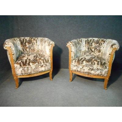 Pair Of Walnut Armchair Art Deco Period