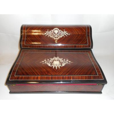 Napoleon III Period Marquetry Writing Case Signed Paul Sormani