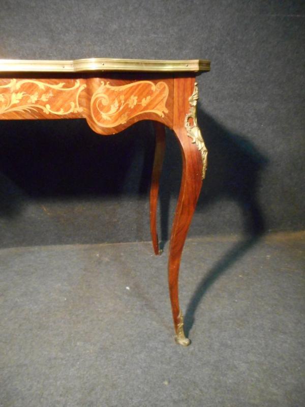 Bureau De Femme Galbé En Marqueterie et bronze doré époque Napoléon III-photo-4