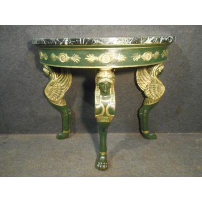 Console Sphinges Empire Period In Lacquered And Gilded Wood
