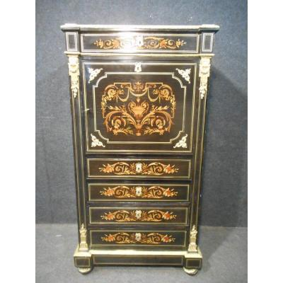 Armoirette In Marquetry And Gilt Bronze Napoleon III