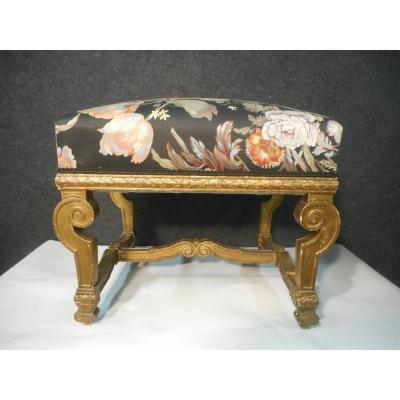 Louis XIV Style Golden Wood Stool Nineteenth Time