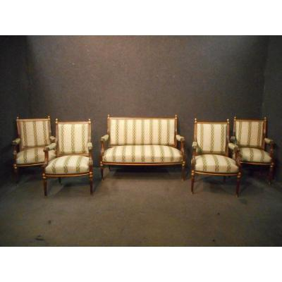 Living Room Set In Solid Mahogany And Gilt Bronze Napoleon III