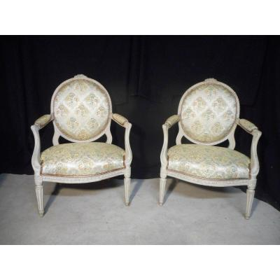 Pair Of Large Lacquered Queen Armchair Stamped Tilliard Eighteenth Time