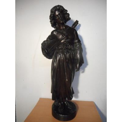 """Grande statue en bronze intitulé """"Mignon"""" ou """"Troubadour"""" signé  Alexandre Falguière"""
