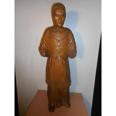 Grande Statue Religieuse En Tilleul Sculpté époque  début XVIIIe