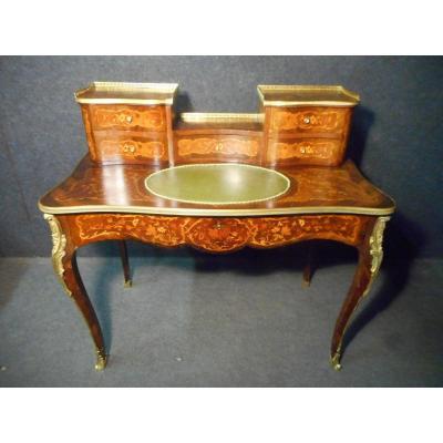 Bureau De Dame galbé époque Napoléon III En Marqueterie Et Bronze Doré