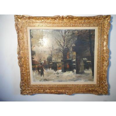 Tableau Rue De Paris animée Signe Olivier Foss 1920-2002