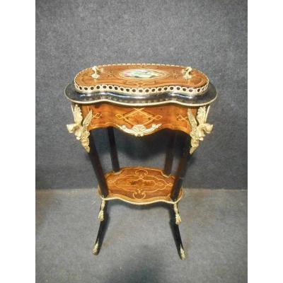 Boite A Couture époque XIXe En Marqueterie Et Bronze Doré