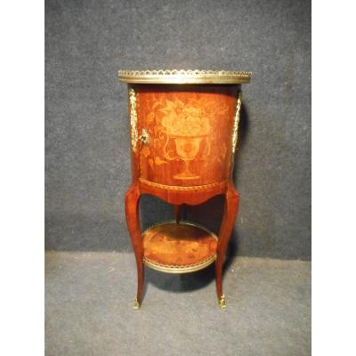 Petit Meuble Tambour époque Napoléon III En Marqueterie Et Bronze Doré