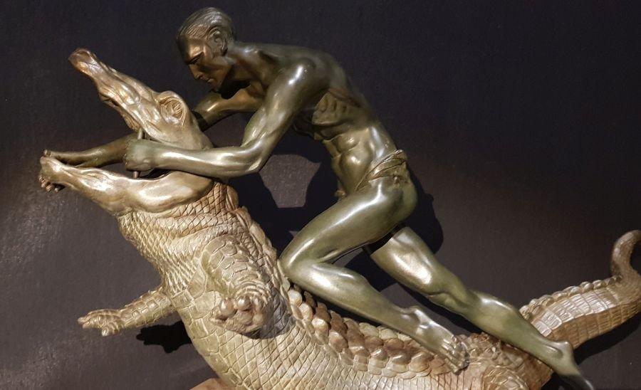 Régule Art Déco Sur Marbre Crocodile