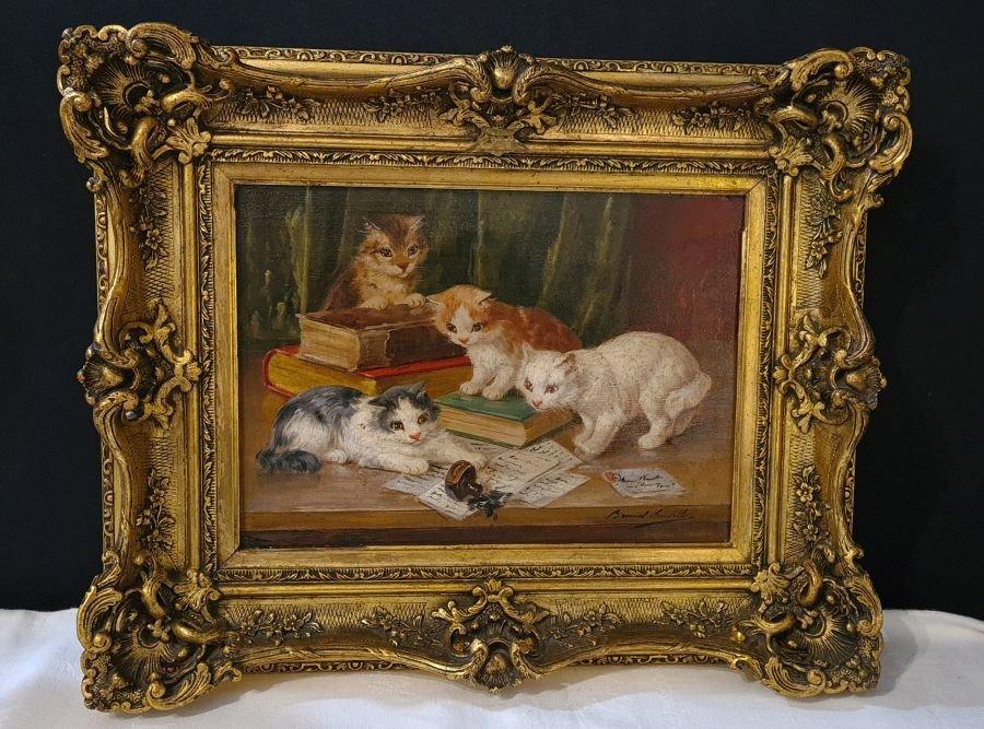 Trois Chats  Par Alfred Arthur Brunel De Neuville (1842 – 1941)