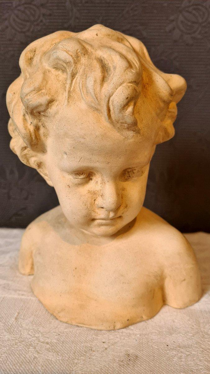 Petit Buste Terre Cuite d'Enfant Putti Fin XIXème-photo-2