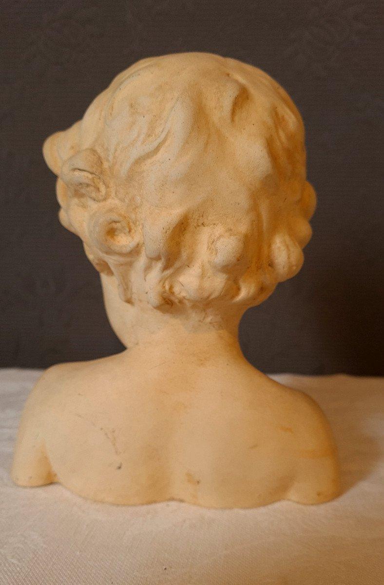 Petit Buste Terre Cuite d'Enfant Putti Fin XIXème-photo-4