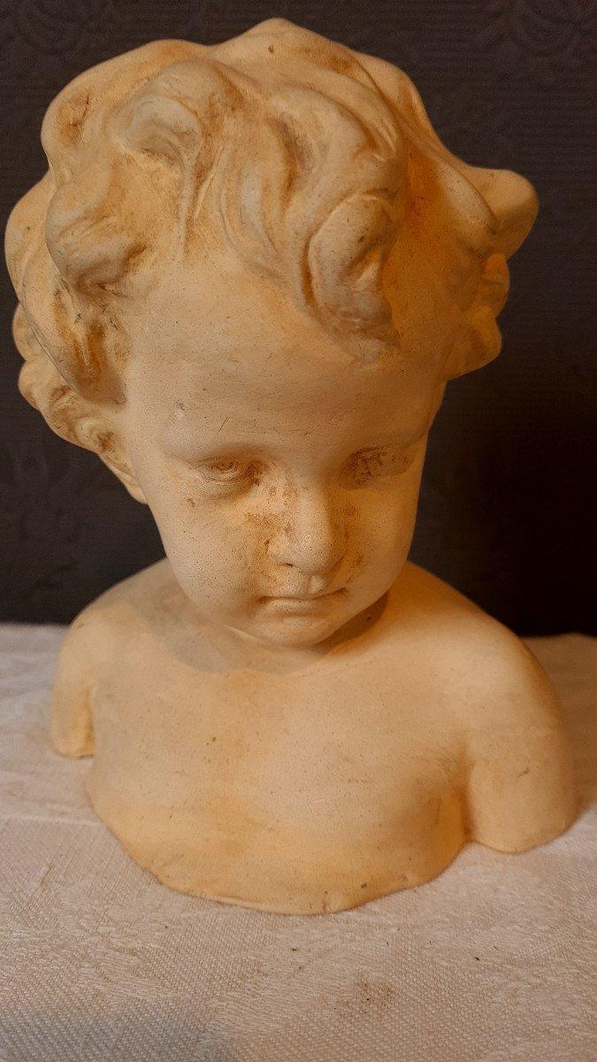 Petit Buste Terre Cuite d'Enfant Putti Fin XIXème-photo-1