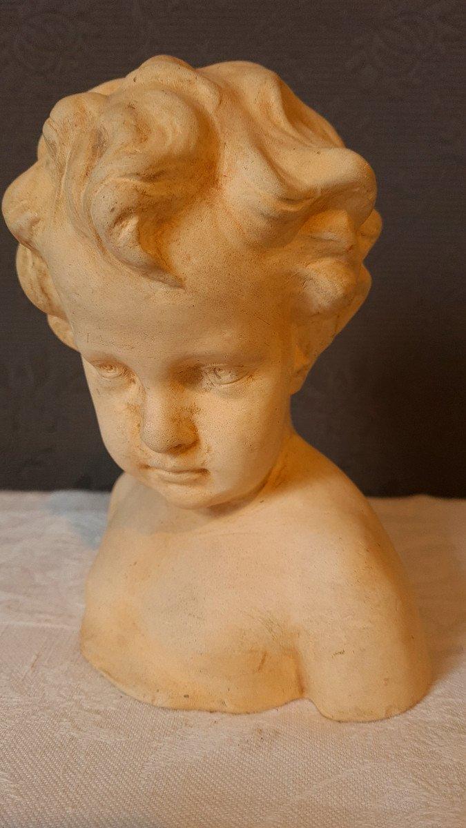 Petit Buste Terre Cuite d'Enfant Putti Fin XIXème