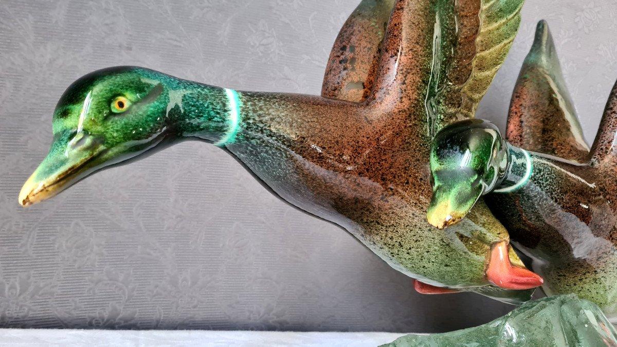 Envol De Canards En Céramique Par Raymond Gangloff XXème-photo-1