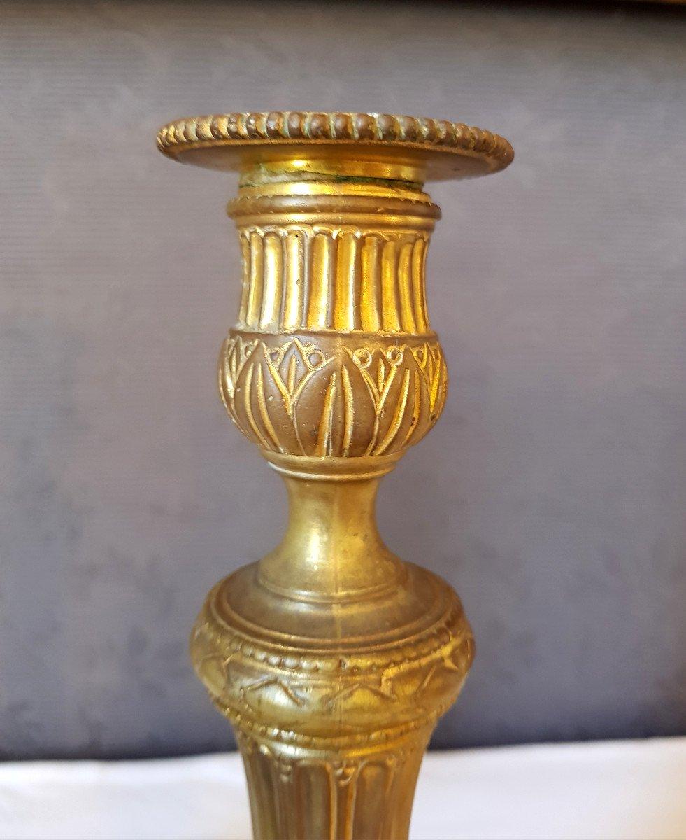Paire De flambeaux Louis XVI  En Bronze Doré-photo-3