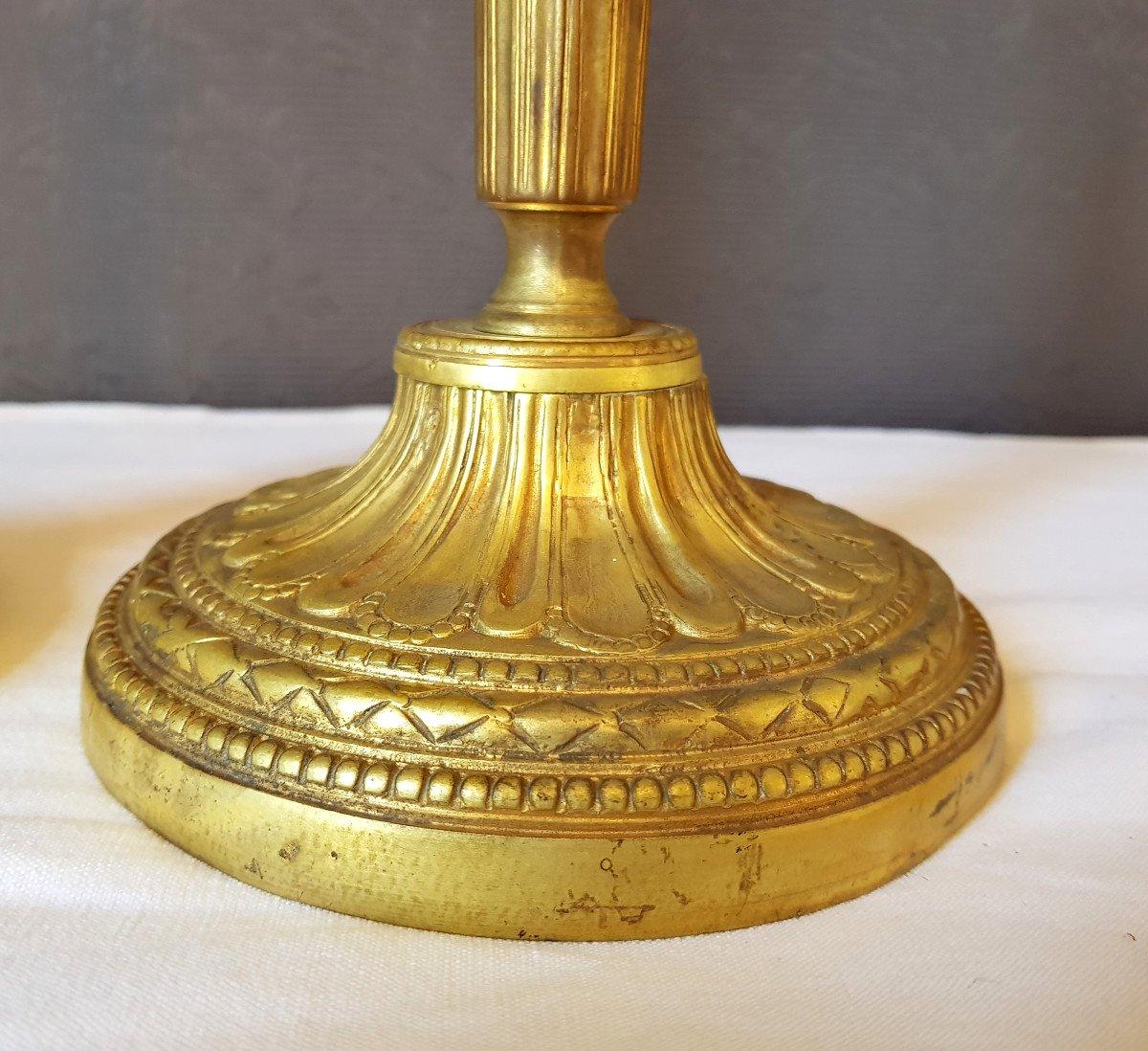 Paire De flambeaux Louis XVI  En Bronze Doré-photo-4