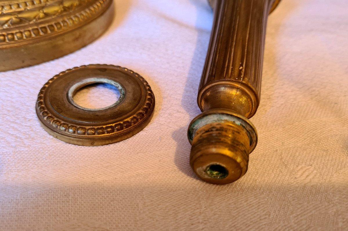 Paire De flambeaux Louis XVI  En Bronze Doré-photo-5