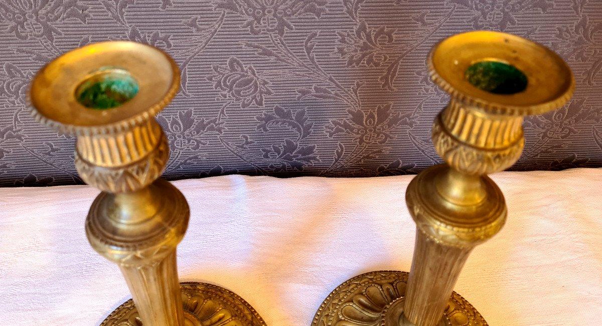 Paire De flambeaux Louis XVI  En Bronze Doré-photo-6