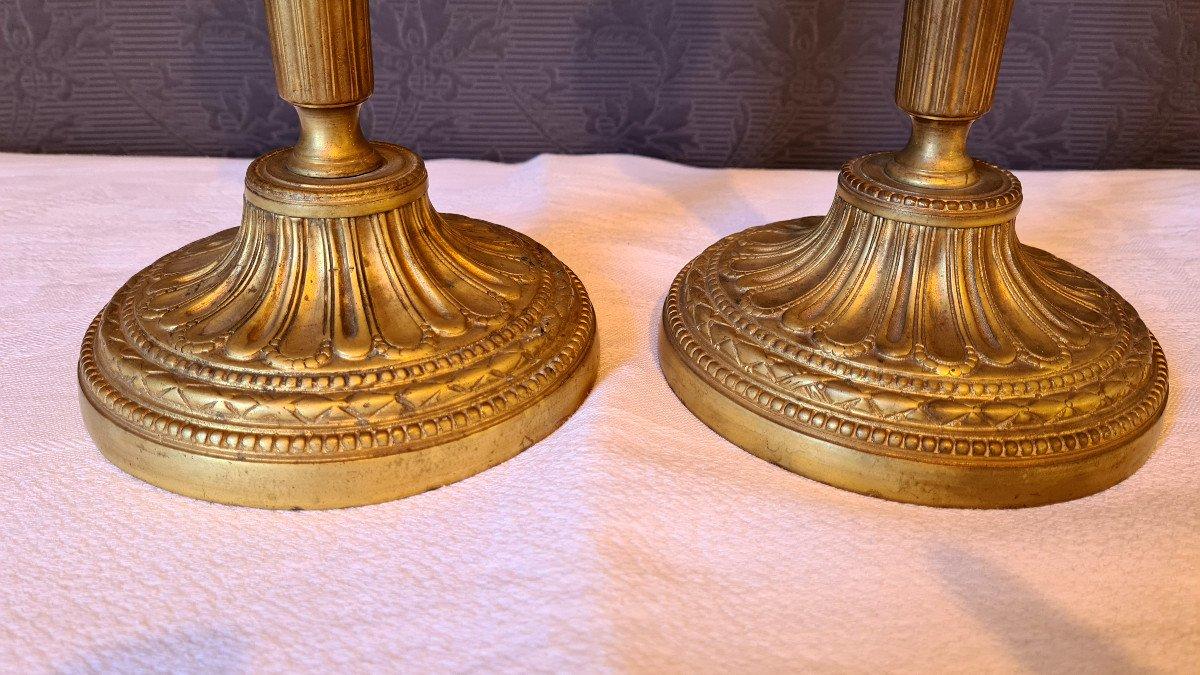 Paire De flambeaux Louis XVI  En Bronze Doré-photo-7