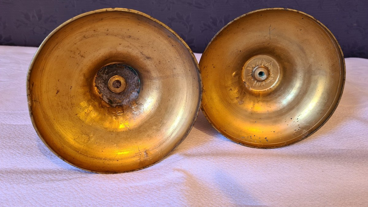 Paire De flambeaux Louis XVI  En Bronze Doré-photo-8