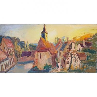 Village Sarthois Par Micheline Masse XXe