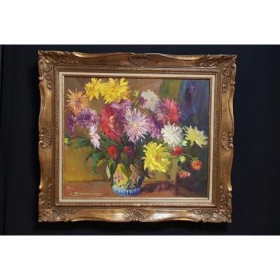 Bouquets De Fleurs Par Jean Baconnais XXe