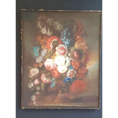 Pastel Of Flowers Nineteenth French School