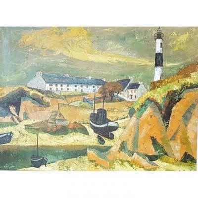 Port Du Doelan Par Emile Courtin  (1925-1997)