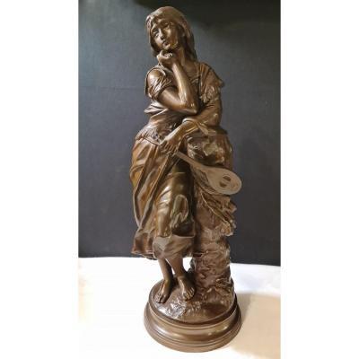 Bronze  Joueuse à La Mandoline Par Adrien Etienne Gaudez (1845-1902)