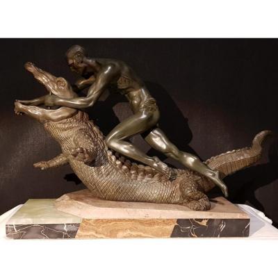 Art Deco Regulates On Crocodile Marble