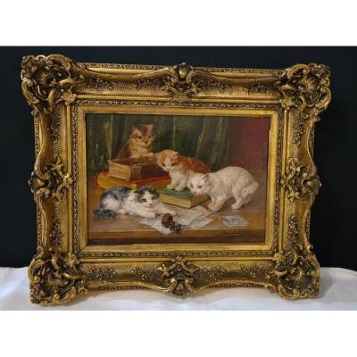 Three Cats By Alfred Arthur Brunel De Neuville (1842 - 1941)