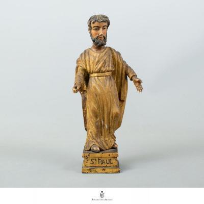 Saint Paul Statuette En Bois Polychrome - XVIII Ème.