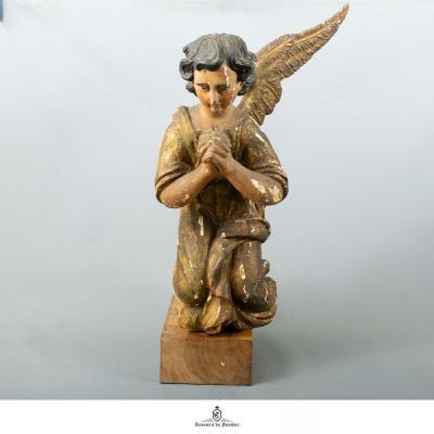 Sculpture D'ange En Bois Polychrome Du XVII Ème - XVIII Ème Siècle