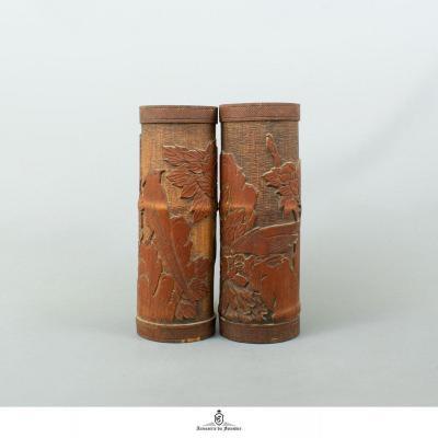 Paire De Bitong Chinois, Pots à Pinceaux - Dynastie Qing