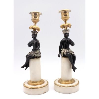 A Pair Of Directoire Bronze And White Marble Candlesticks