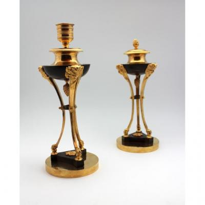 A Pair Of Directoire Gilt And Bronze Casollettes